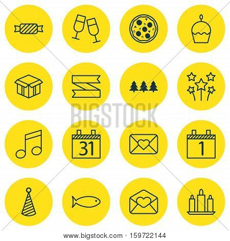 Set Of 16 New Year Icons. Can Be Used For Web, Mobile, UI And Infographic Design. Includes Elements Such As Note, Pizza, Blank And More.