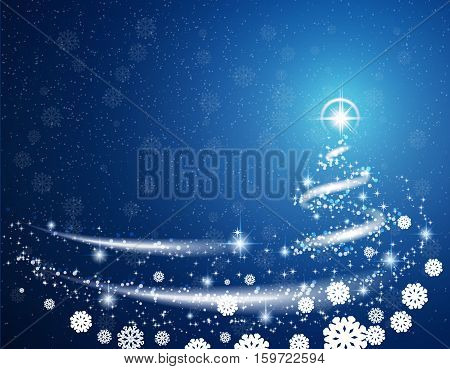 Blue Christmas blizzard snowflakes and stars background