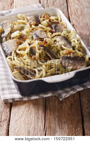 Pasta Con Le Sarde.  Pasta With Sardines, Fennel, Raisins And Pine Nuts And Parsley