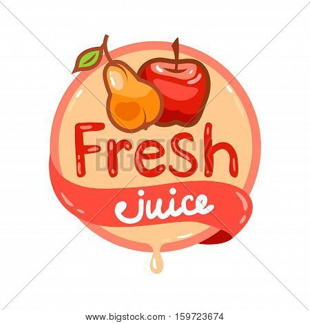 Colorful fresh pear and apple juice emblem, vector illustration for your design.