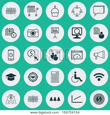 Set Of 25 Universal Editable Icons. Can Be Used For Web, Mobile And App Design. Includes Elements Such As Investment, Conference, Sinus Graph And More.