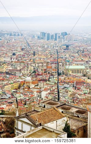 Naples, Italy - panoramic view of Spaccanapoli the street that divides the old city