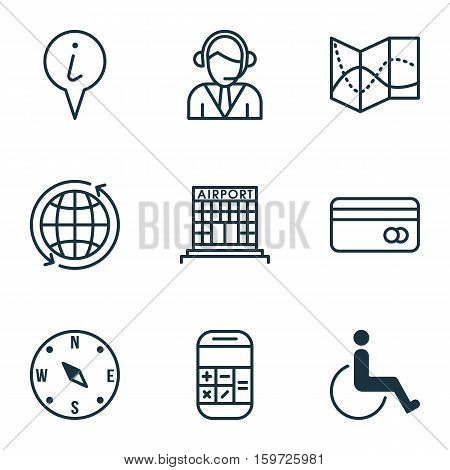 Set Of 9 Transportation Icons. Can Be Used For Web, Mobile, UI And Infographic Design. Includes Elements Such As Calculator, Paralyzed, Around And More.