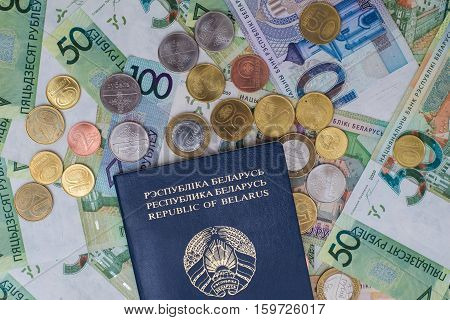 New Belorussian Money And Passport. Coins And Banknotes. Finance Concept.
