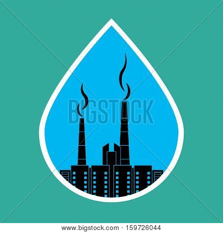 Environmental pollution ecology concept. Tube with smoke over the city in a drop of water. Vector illustration.