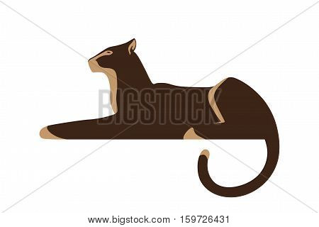 Silhouette of panther isolated on white background. Wild animal as logo or mascot. Vector illustration.