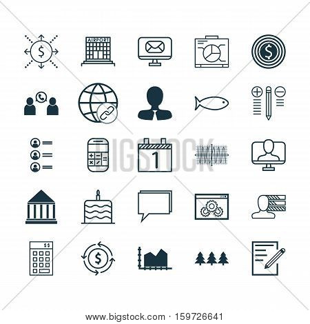 Set Of 25 Universal Editable Icons. Can Be Used For Web, Mobile And App Design. Includes Elements Such As Celebration Cake, Money, Education Center And More.