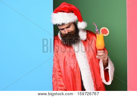 Upset Bearded Santa Claus Man