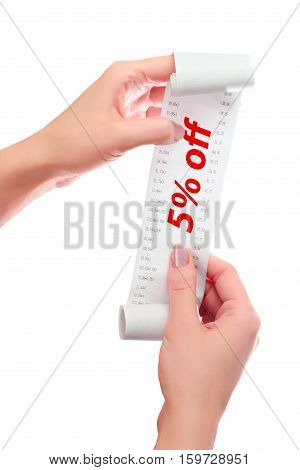 Woman Hold In Her Hands Roll Of Paper With Printed Receipt Mock Up Template. Text 5% Off In Red Over