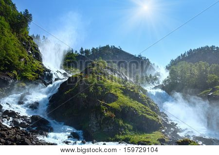 Summer Sunshiny Latefossen Waterfall, Norway