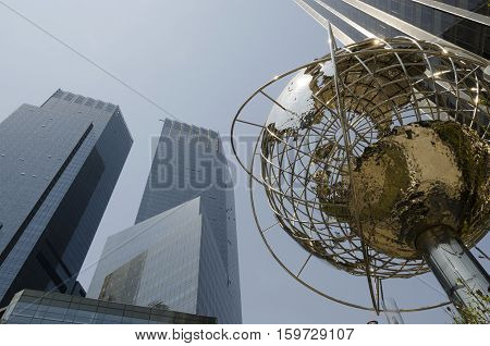 New York City USA - May 04 2015: Columbus circle in Manhattan a famous place with a globe structure