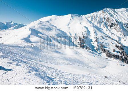 Beautiful view to Ski resort in Adelboden Berner Oberland Switzerland
