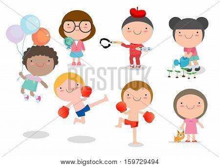 happy cartoon kids playing, children playing on white background, Vector illustration