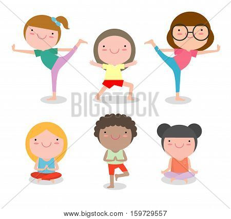 kids Practicing Yoga , happy cartoon children Practicing Yoga , child Yoga exercises. Healthy lifestyle on white background , Vector illustration