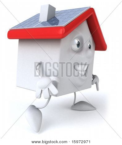 House and solar panels poster