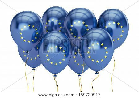 Balloons with flag of European Union holyday concept. 3D rendering isolated on white background