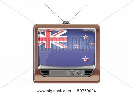 old tv with flag of New Zealand. Television concept 3D rendering