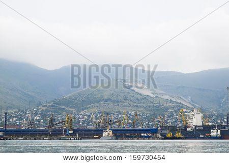 The International Sea Port Of Novorossiysk. Port Cranes And Industrial Objects. Marine Station.