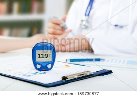Doctor Checking Blood Sugar Level
