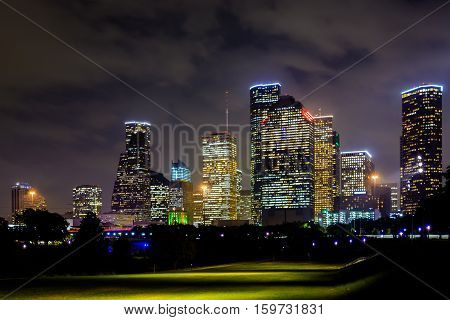 Houston night-time skyline from Buffalo Bayou Park