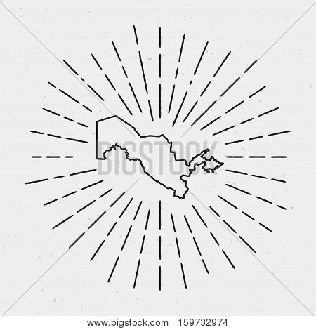 Vector Uzbekistan Map Outline With Retro Sunburst Border. Hand Drawn Hipster Decoration Element. Bla
