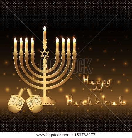 Postcard for greetings with Festival of Lights Feast of Dedication Hanukkah. Golden menorah with candles and dreidels on black halftone background with gold shining. Vector illustration