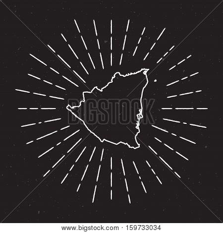 Nicaragua Vector Map Outline With Vintage Sunburst Border. Hand Drawn Map With Hipster Decoration El