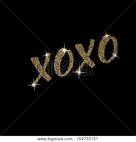 Xoxo - free handdrawn typography lettering with golden texture. Modern glitter brush calligraphy, isolated on the black background. Vector love hugs and kisses text message.