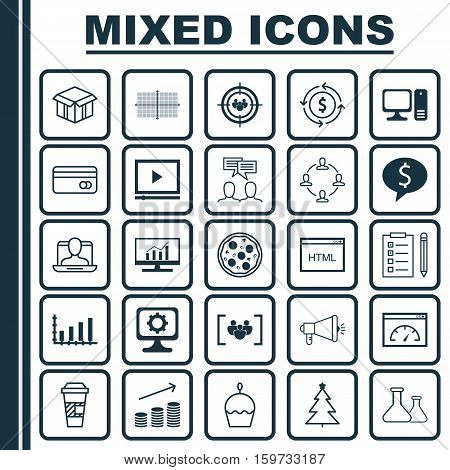 Set Of 25 Universal Editable Icons. Can Be Used For Web, Mobile And App Design. Includes Elements Such As Reminder, Square Diagram, Questionnaire And More.