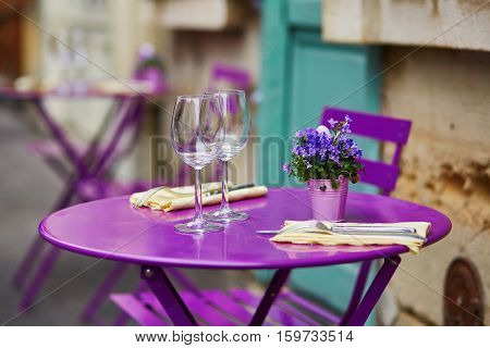 Purple Table Of Parisian Outdoor Cafe