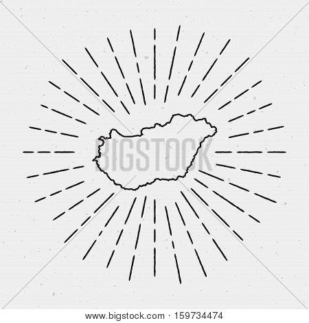 Retro Sunburst Hipster Design. Hungary Map Surrounded By Vintage Sunburst Rays. Trendy Hand Drawn Su