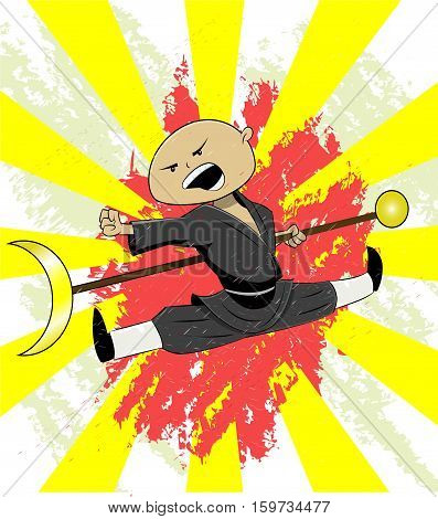 Shaolin monk trains his martial art skills. Cute illustration for t shirt print or other. Vector