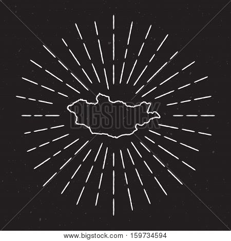 Mongolia Vector Map Outline With Vintage Sunburst Border. Hand Drawn Map With Hipster Decoration Ele