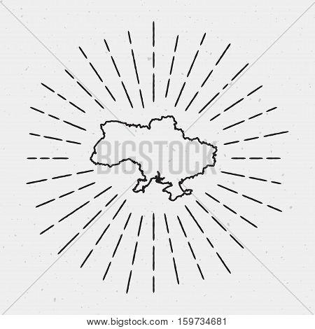 Retro Sunburst Hipster Design. Ukraine Map Surrounded By Vintage Sunburst Rays. Trendy Hand Drawn Su