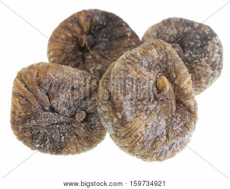 Dried figs isolated on white background. Figs grow on the Ficus tree (Ficus carica).