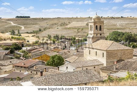 a view over Hontanas town and the Inmaculada Concepcion church, province of Burgos, Spain