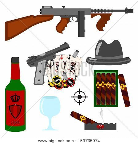 Isolated vector gangster set on white background. Thompson gun pistol gun hat whiskey vine gambling cigars ashtray cards and bullets set