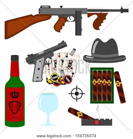 Isolated vector gangster set on white background. Thompson gun pistol gun hat whiskey vine gambling cigars ashtray cards and bullets set