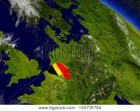 Belgium With Embedded Flag On Earth