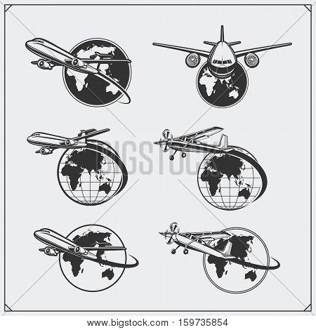Airplane travel labels, emblems, badges and design elements. Vintage style.