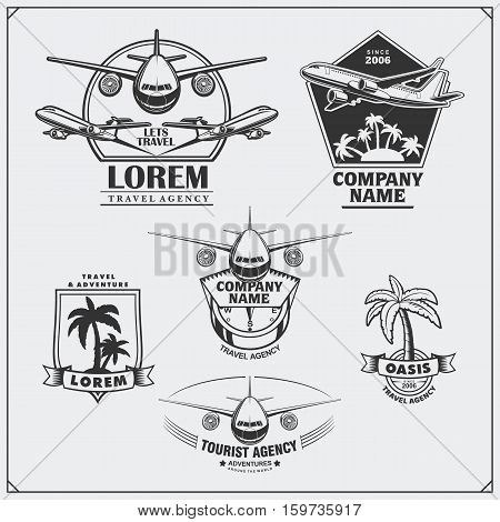 Airplane travel labels, emblems, badges and design elements. Vintage style.