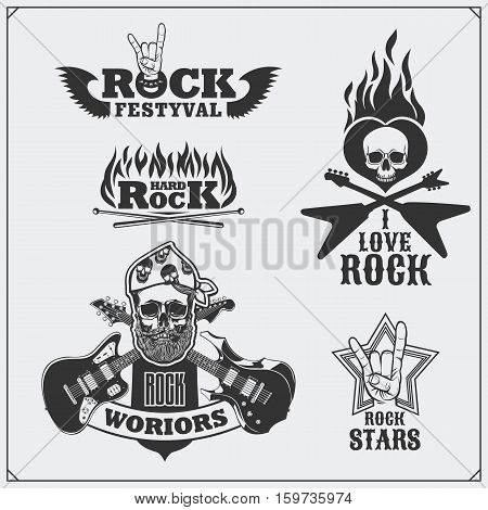 Rock'n'Roll music symbols, labels, badges and design elements.
