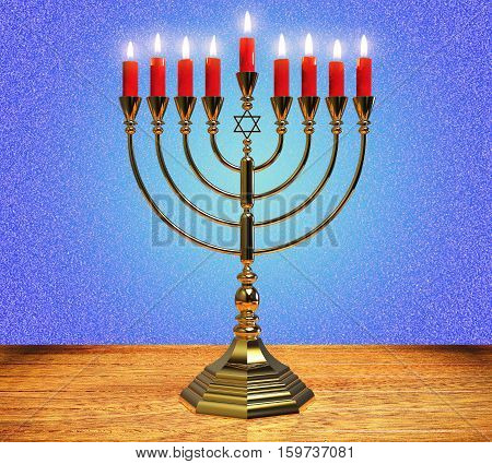 Menorah Hanukkah lamp which is lit during the eight days of Hanukkah. 3D render.