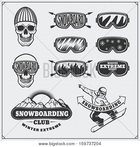 Set of Snowboarding extreme labels, emblems, badges and design elements. Vintage mountain adventure symbols.