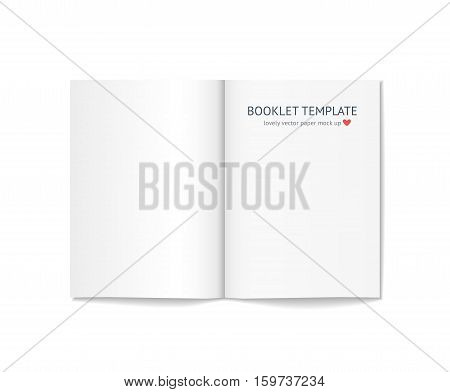 Blank booklet mock up with shadow isolated on white background. Realistic vector template of blank white book