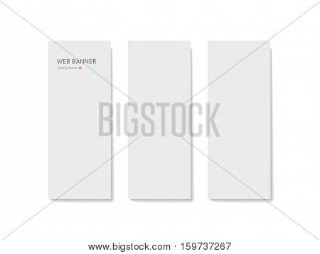 Paper web banner mock up with shadow isolated on white background, business roll up banners. Realistic vector mockup. Template for designer portfolio presentation, business identity