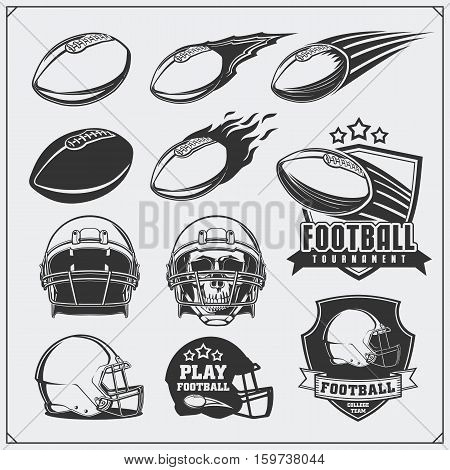 Football labels, emblems and design elements. Balls and helmets. Vector set. Monochrome design.