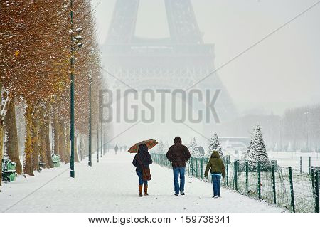 Rare Snowy Day In Paris