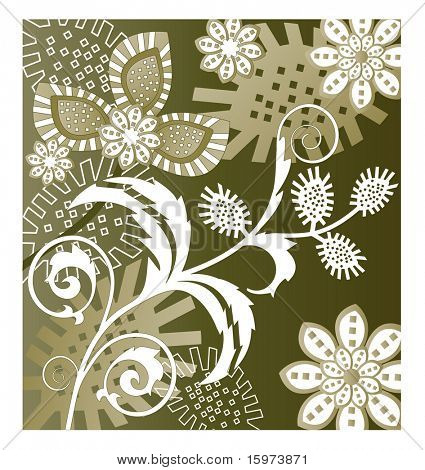 funky shapes and flowers vector