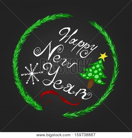 Round lettering card for New Year holiday season with snowflake red ribbon and christmas tree